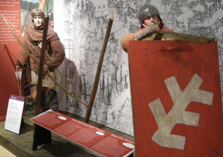 Soldiers from the Middle age at the National Army Museum in Chelsea.