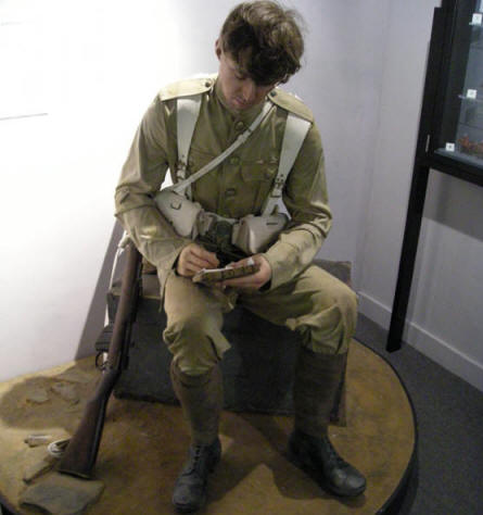 A British World War I soldier at the National Army Museum in Chelsea.
