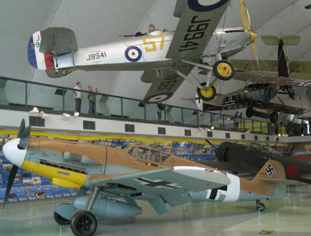 Messerschmitt Bf-109 and other historic aircrafts at the RAF Museum at Hendon.