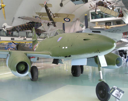 Messerschmitt Me-262 and other historic aircrafts at the RAF Museum at Hendon.
