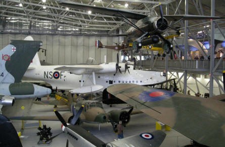 """AirSpace"" hall at Duxford. A Short Sunderland at the background, Lysander at the top and many other aircrafts."