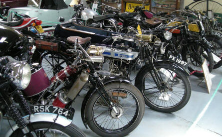 Some of the many classic motorcycles at Bentley Wildfowl & Motor Museum.
