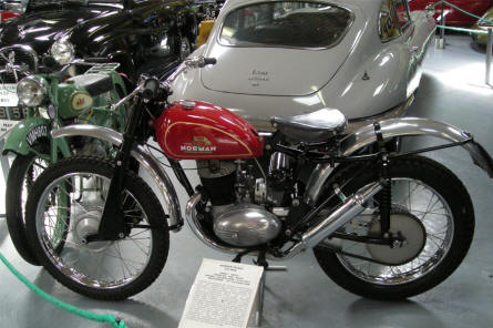 A 1960 Norman Trails 974 MKK motorcycle displayed at the Bentley Wildfowl & Motor Museum.