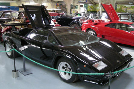 A 1986 Lamborghini Countach LP500 QV displayed at the Bentley Wildfowl & Motor Museum.
