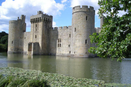 Bodiam Castle and waterlilies in the lake