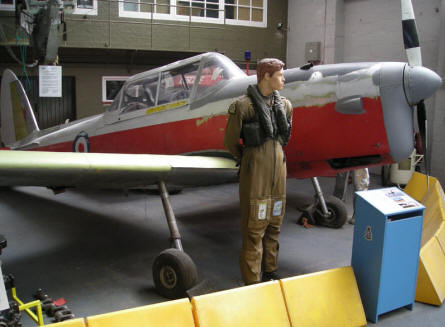A De Havilland Canada Chipmunk training aircraft at the RAF Manston History Museum.