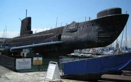 A post World War II submarine - HMS Alliance - displayed at the Royal Navy Submarine Museum at Gosport. The submarine saw service in 1947 and today it is possible to have a guided walk inside it.