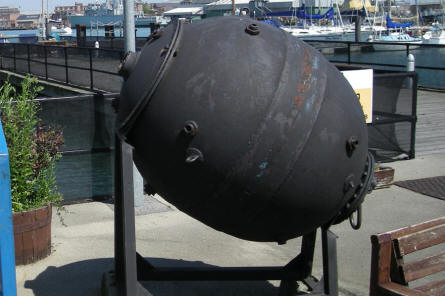 One of the sea mines displayed at the Royal Navy Submarine Museum at Gosport.