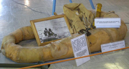 "An inflatable lifeboat used during the ""Battle of Britain"" at the Spitfire & Hurricane Memorial Museum at Manston."