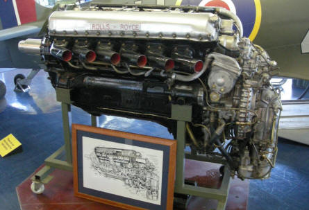 A Rolls-Royce Merlin engine at the Spitfire & Hurricane Memorial Museum at Manston.