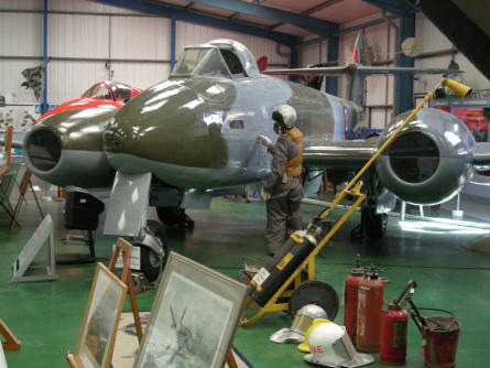 Late World War II Gloster Meteor jet fighter at the Tangmere Military Aviation Museum.