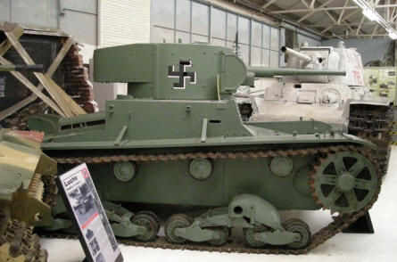A pre World War II German Luchs tank at Bovington Tank Museum. In the background a Russian T-34 tank.