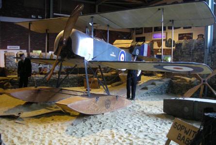 British World War I Sopwith Baby seaplane display at the Fleet Air Arm Museum.